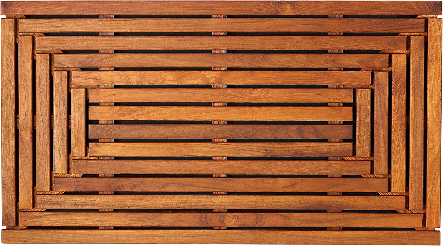 "Bare Decor Giza Shower, Spa, Door Mat in Solid Teak Wood and Oiled Finish 35.5"" x 19.75"": Home & Kitchen"
