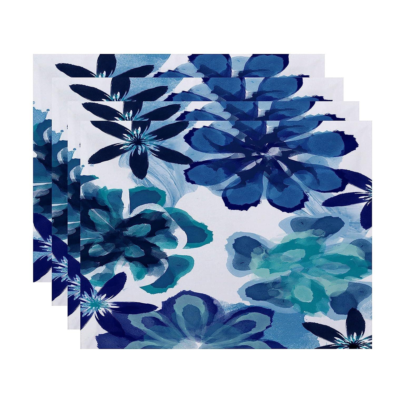 E by design ANI Floral Print Placemat 18 x 14 Blue