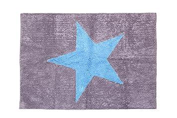 Tappeti Per Bambini Lavabili In Lavatrice : Aratextil estela tappeto per bambini cotone grigio celeste