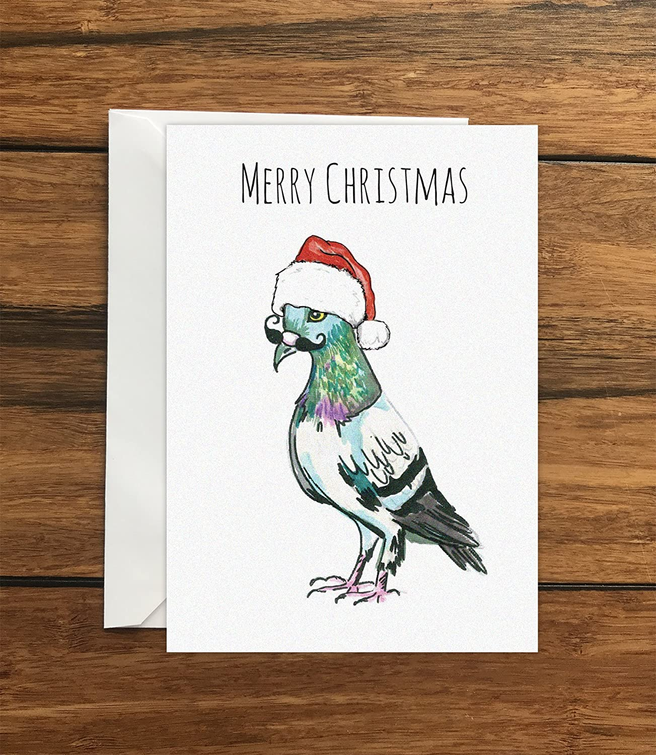 Merry Christmas Pigeon One Original Blank Greeting Card A6 And