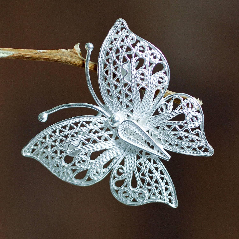 NOVICA .925 Sterling Silver Brooch Catacos Butterfly