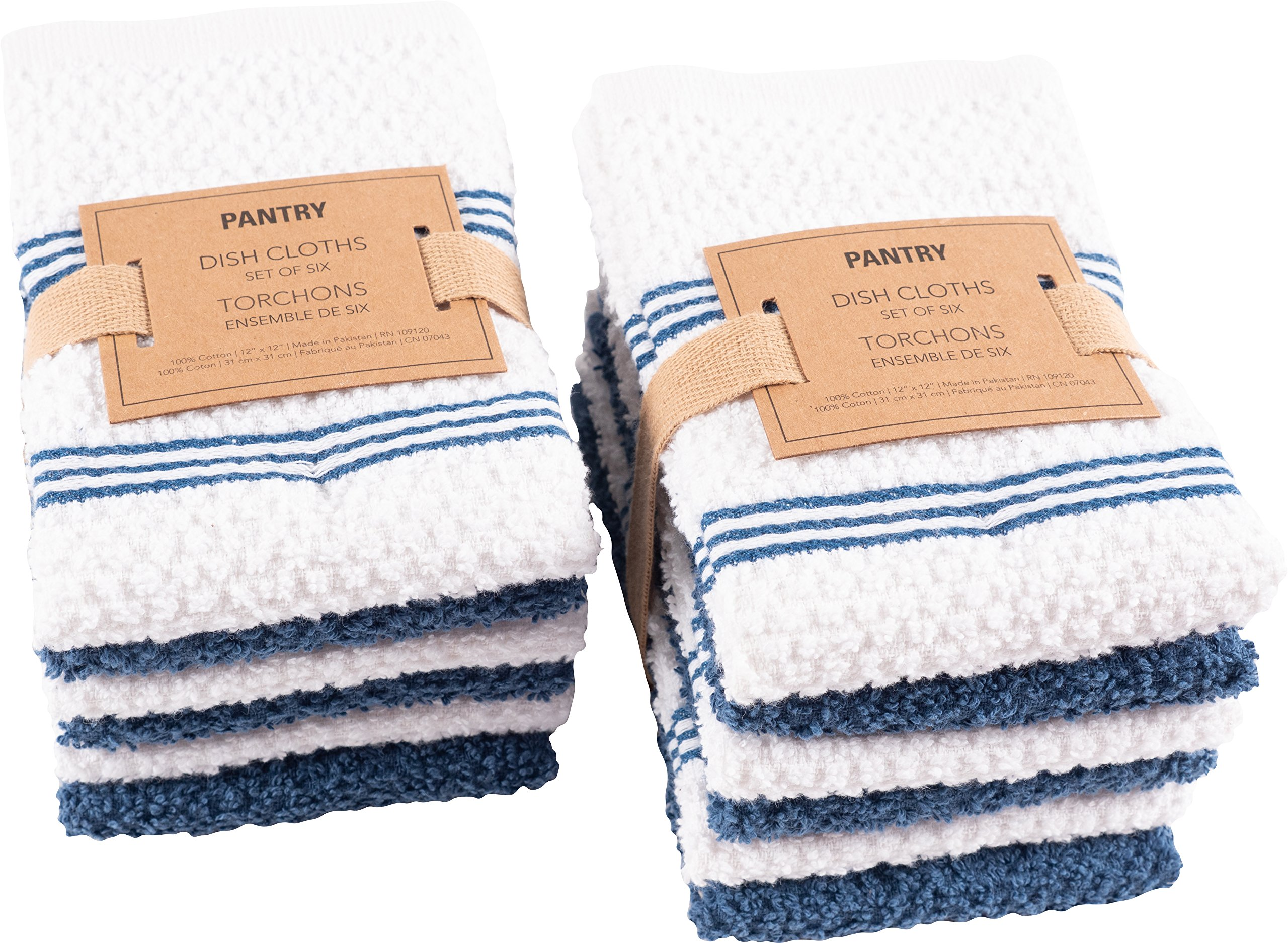 KAF Home Pantry Piedmont Dish Cloths (Set of 12, 12x12 inches), 100% Cotton, Ultra Absorbent Terry Towels - Paris Blue by KAF Home (Image #3)