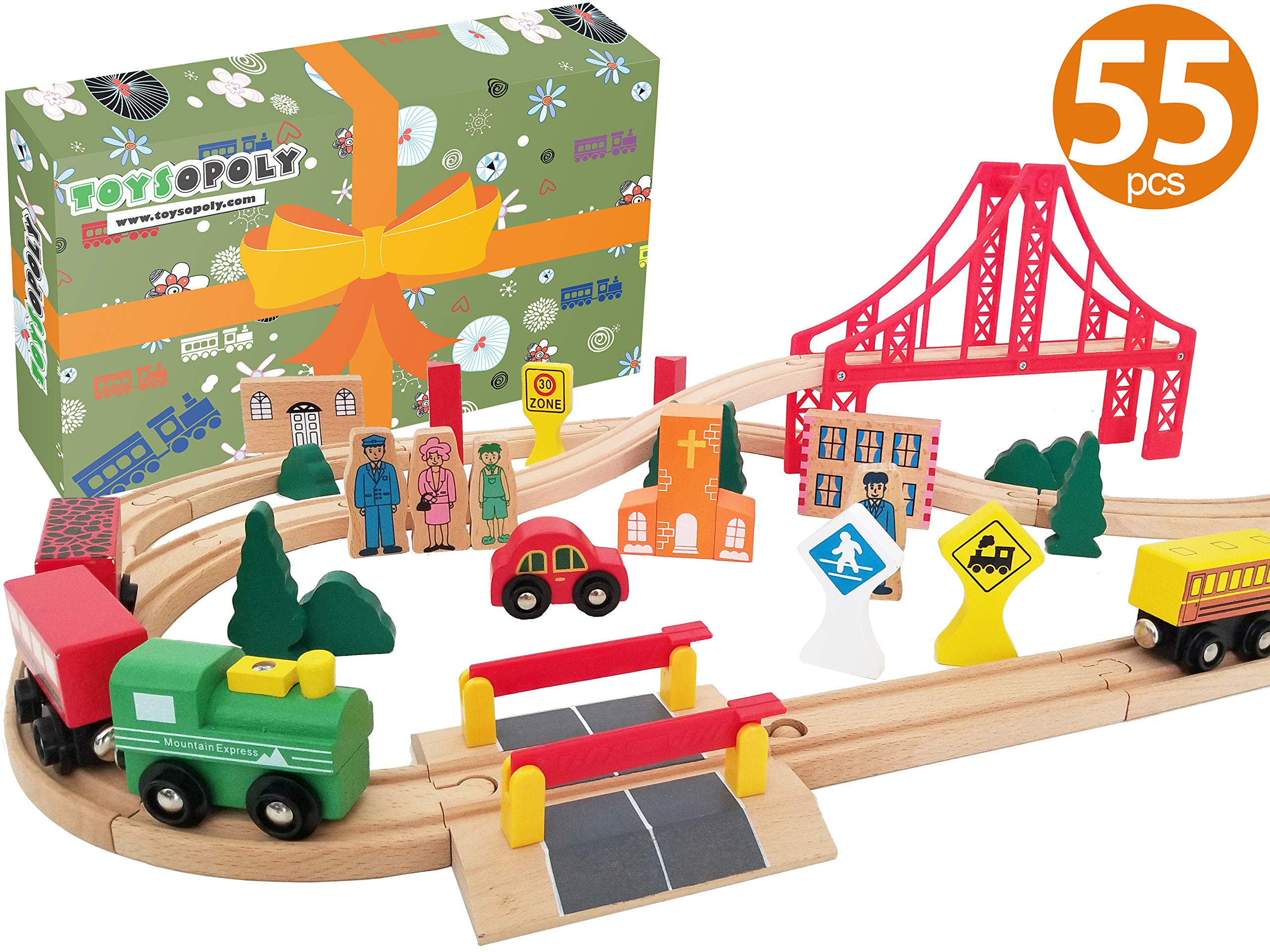 Wooden Train Tracks Full Set, Deluxe 55 Pcs with 3 Destination Fits Thomas, Brio, IKEA, Chuggington, Imaginarium, Melissa and Doug - Best Gifts for Kids Toddler Boys and Girls by ToysOpoly