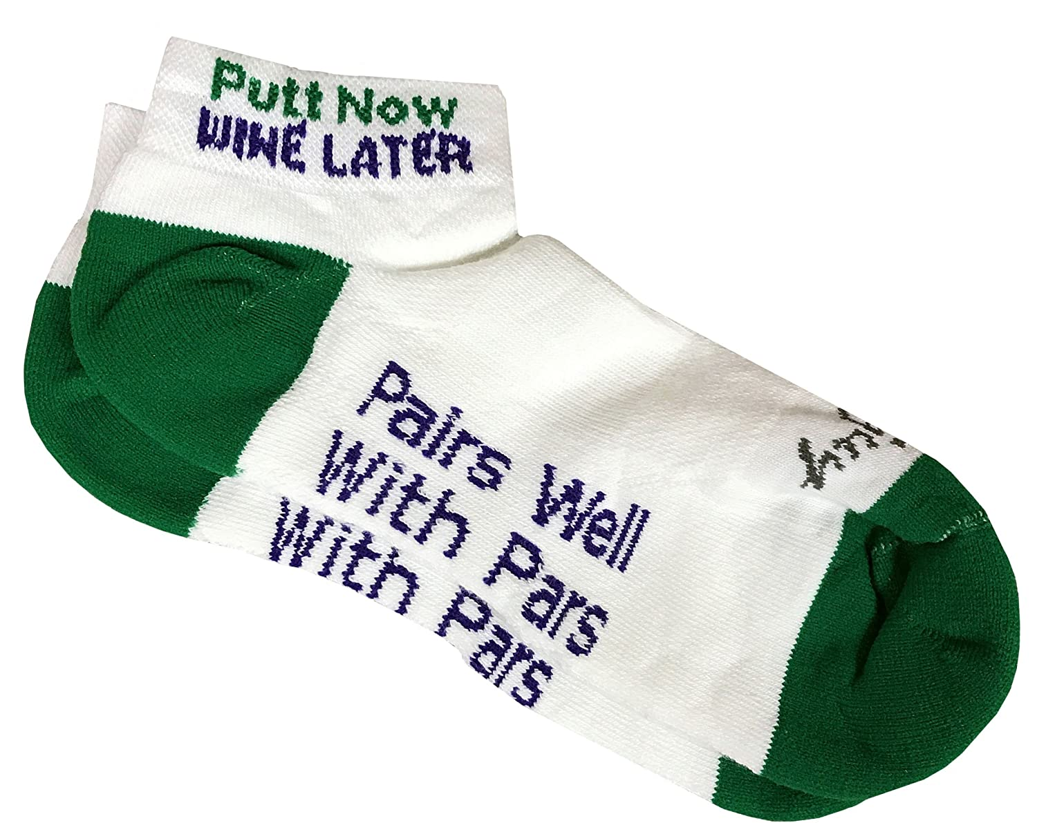Amazon.com   Giggle Golf Women s Golf Sock Pack - Pair of Putt Now Wine  Later Socks   A Bling Ball Marker with Hat Clip   Sports   Outdoors 2f05a49b842b