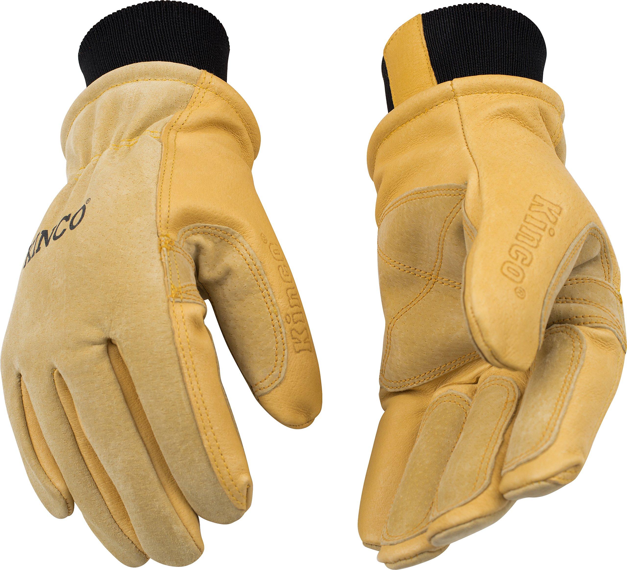 KINCO 901 Men's Pigskin Leather Ski Glove, HeatKeep Thermal Lining, Draylon Thread, X-Large, Golden by Kinco