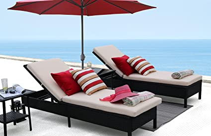Baner Garden X15 Modern Outdoor Pool Patio Furniture Adjustable One Single  Chaise Lounge Chair With Two