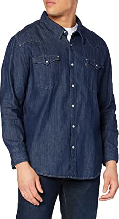 Levi's Big and Tall Big Barstow Western Shirt, Red Cast Rinse Marbled T2 H2 19, 1XL para Hombre