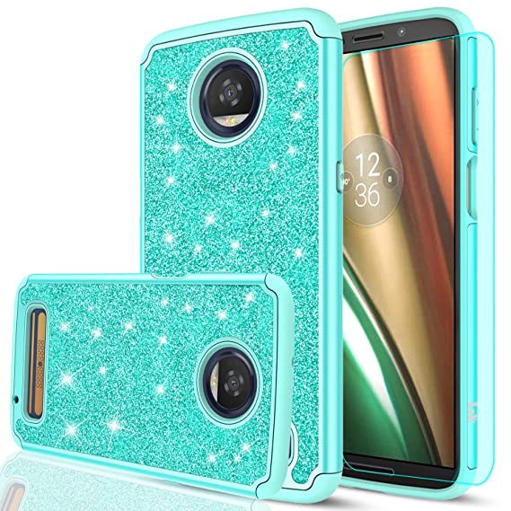online retailer 41d1f dbd5f Moto Z3 Case,Moto Z3 Play Case with HD Screen Protector for Girls  Women,LeYi Glitter Bling Dual Layer Hybrid Shockproof Protective Phone Case  for ...