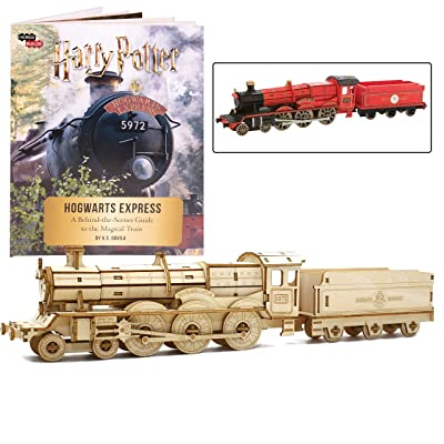 "Harry Potter Hogwarts Express Book and 3D Wood Model Figure Kit - Build, Paint and Collect Your Own Wooden Movie Toy Train Model - Great for Kids and Adults, 12 + - 12"": Toys & Games"
