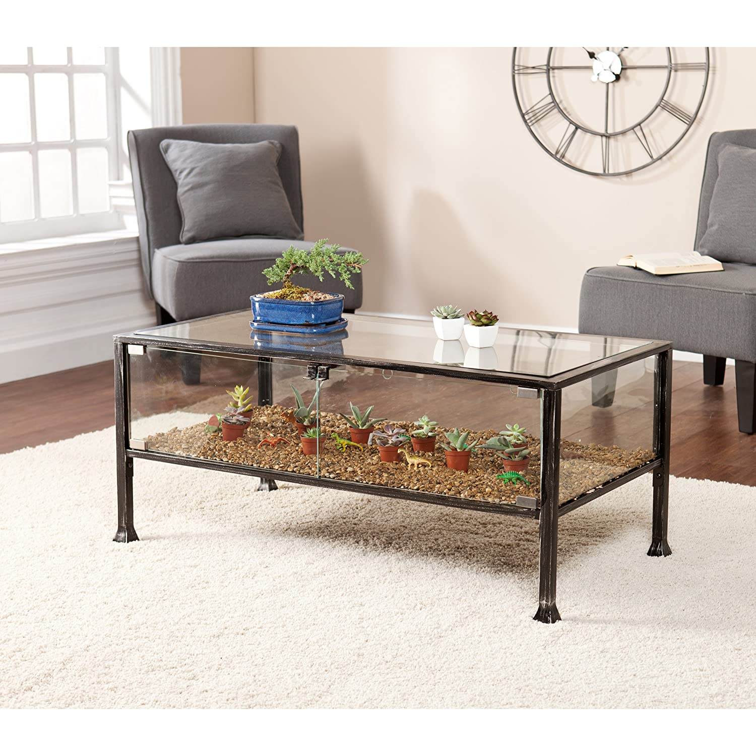 Southern Enterprises Terrarium Display Cocktail Coffee Table, Black with Silver Distressed Finish