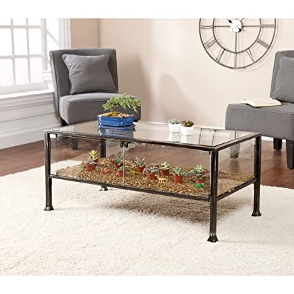 Charming Southern Enterprises Terrarium Display Cocktail Coffee Table, Black With  Silver Distressed Finish
