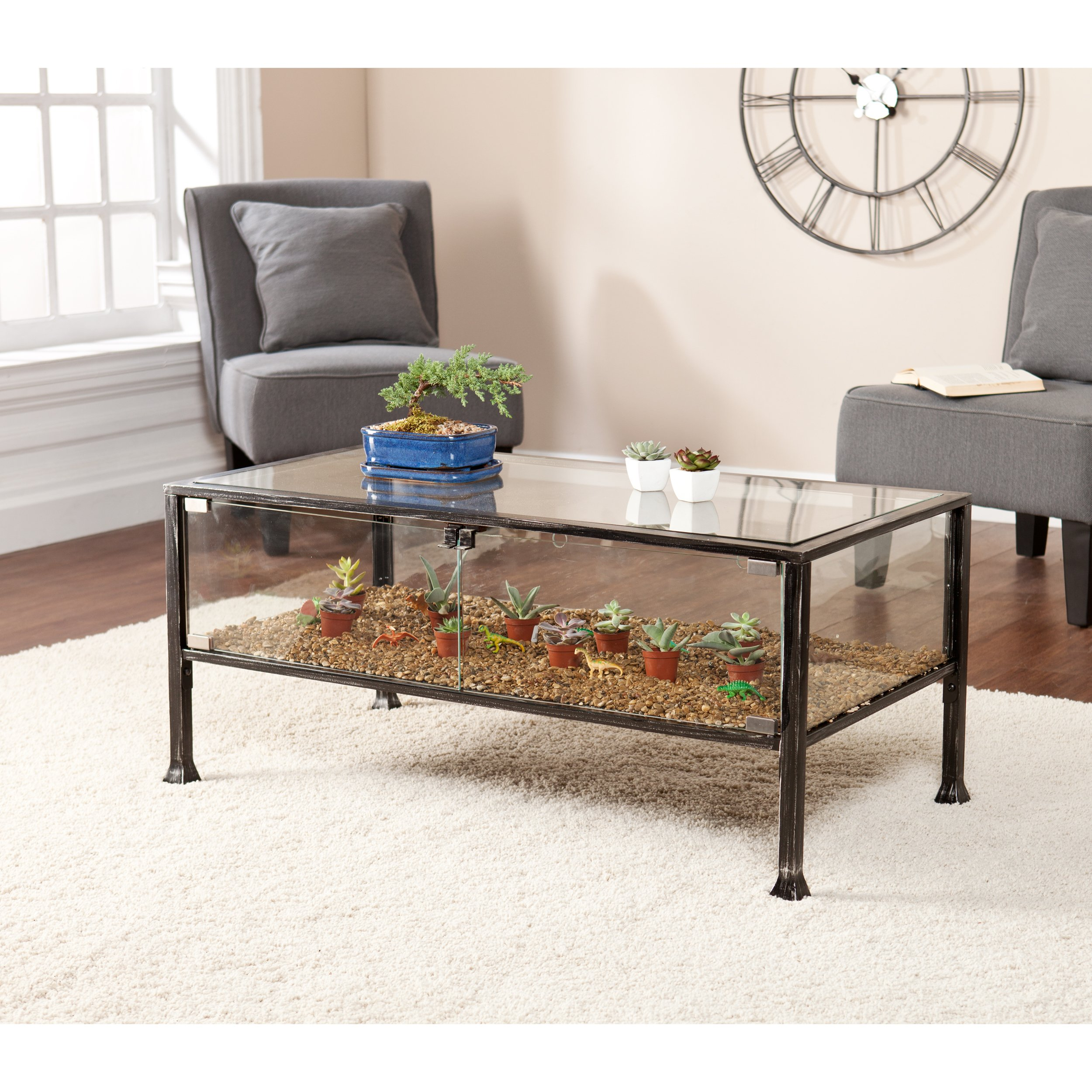 - Terrarium Display Cocktail Coffee Table - Glass Display For Plants