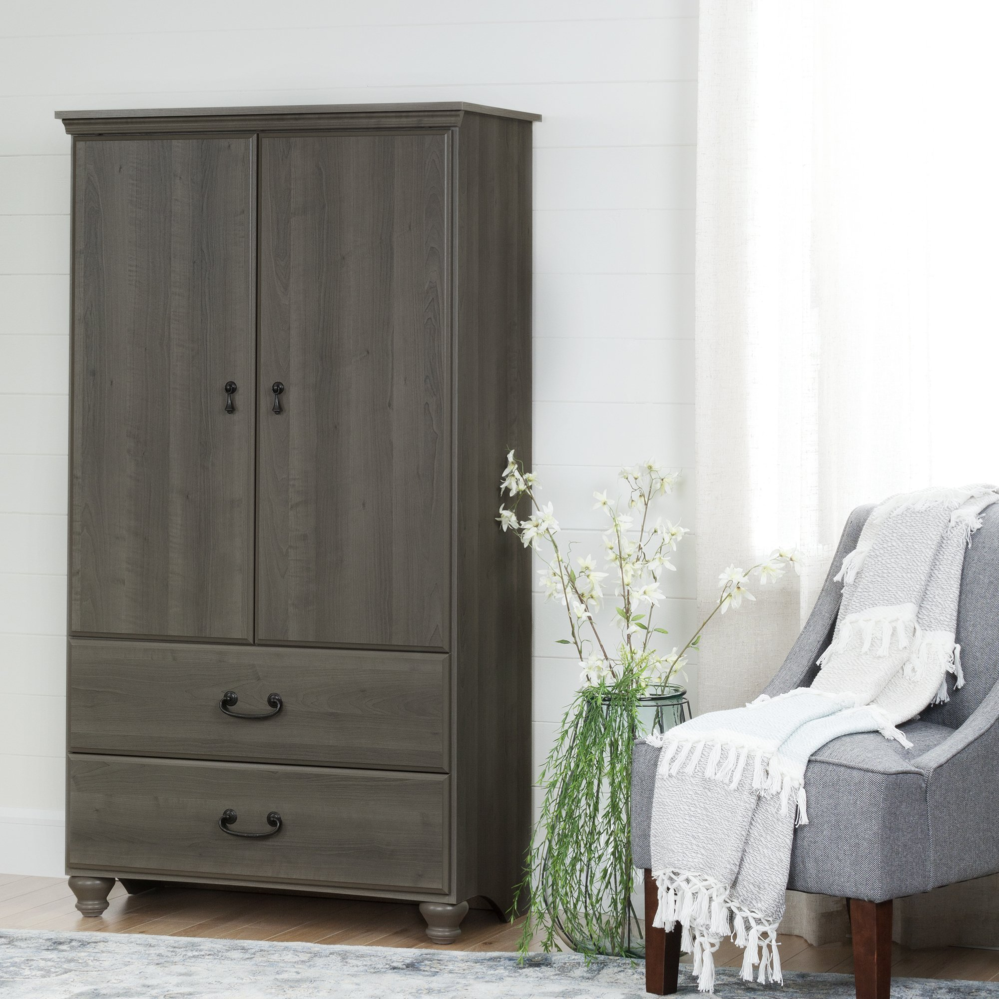 South Shore 2-Door Armoire with Adjustable Shelves and Storage Drawers, Gray Maple by South Shore