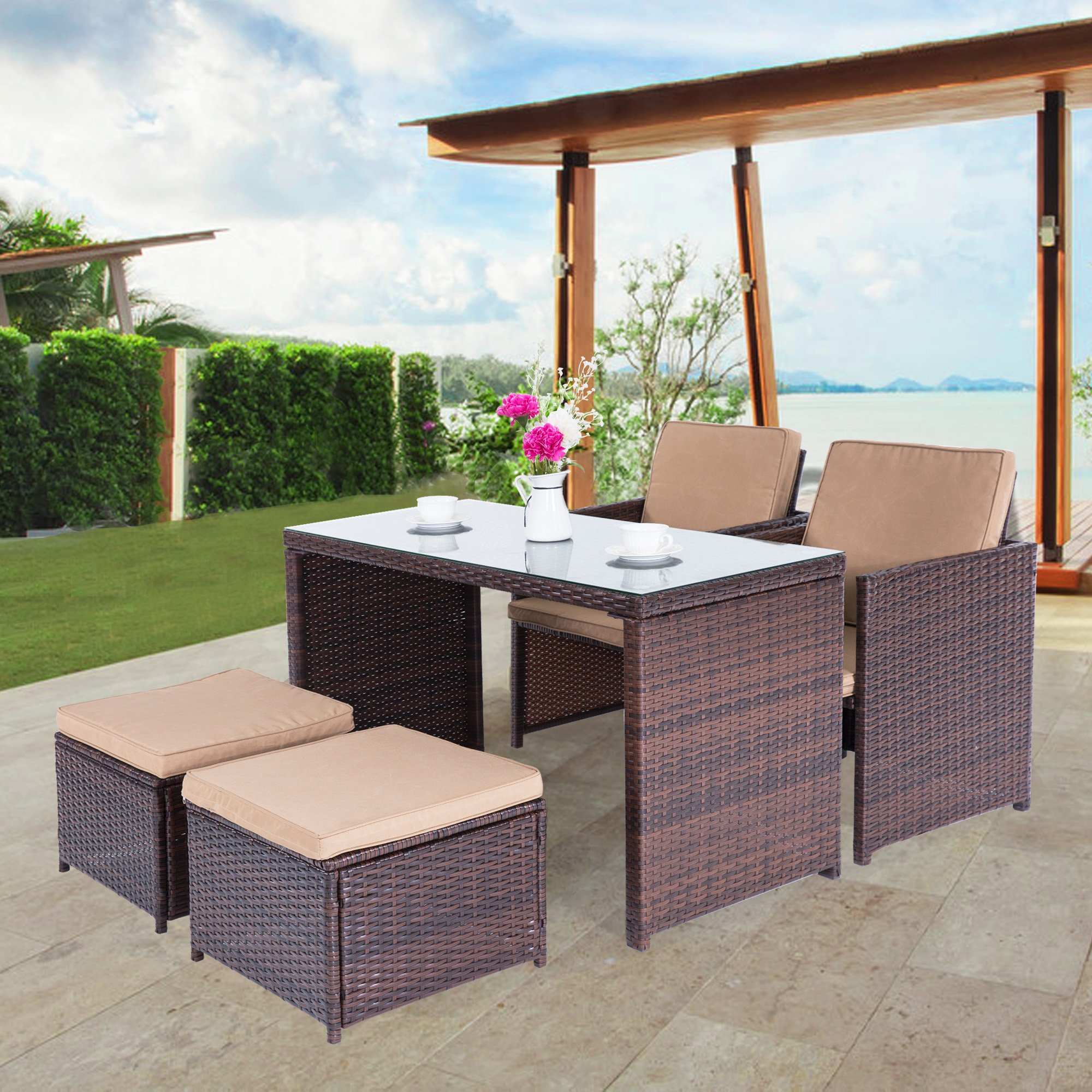 Cloud Mountain Outdoor 5 Piece Rattan Wicker Furniture Bar Set Dining Set Cushioned Patio Furniture Set Space Saving - 1 Patio Dining Table & 4 Conversation Bistro Set, Brown by Cloud Mountain (Image #2)