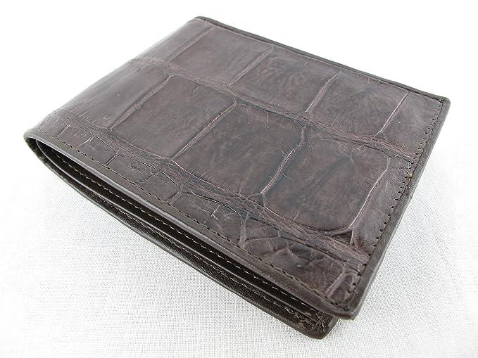Genuine Crocodile Alligator Belly Skin Leather Man Bifold Brown Black Wallet