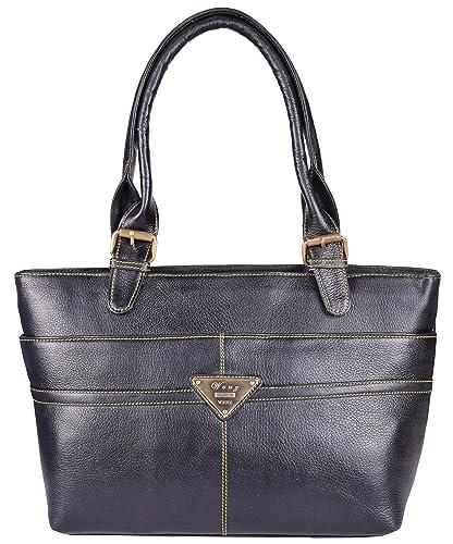 b052e8602873 Wenz Genuine Pure Leather Ladies Handbag Shoulder Bag Handbag (Black ...