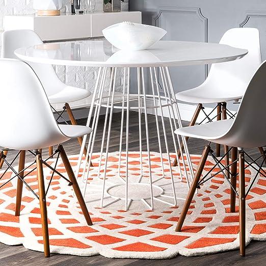 Amazon Com Nuloom Lumi Hand Tufted Round Rug 6 Round Orange Furniture Decor