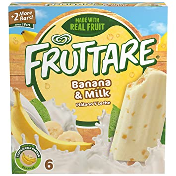 Fruttare, Frozen Fruit Bar, Banana and Milk 6 Count (Frozen)
