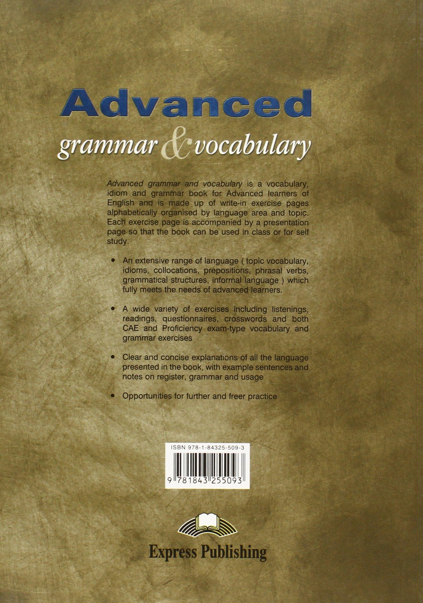 Advanced Grammar Vocabulary Mark Skipper 9781843255093 Amazon