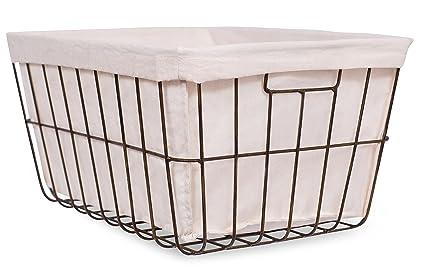 BirdRock Home Office Wire Basket With Liner | Rectangular | Modern Age |  Home Storage Bins