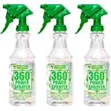 HARRIS Professional Wide Mouth 32oz Empty Spray Bottles for Cleaning Solutions (3-Pack), All-Purpose with Clear Finish, Press