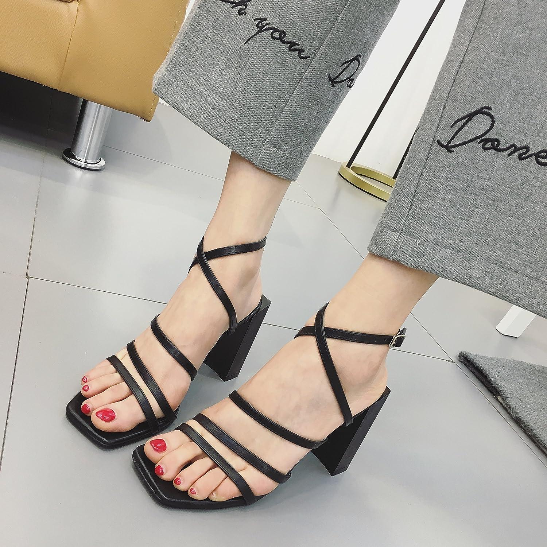 Angrousobiu High-Heeled Sommer Sandalen Sandalen Sandalen Sommer Sandalen Frauen dick mit Sommer Sandalen Frauen ausgesetzt 5be421