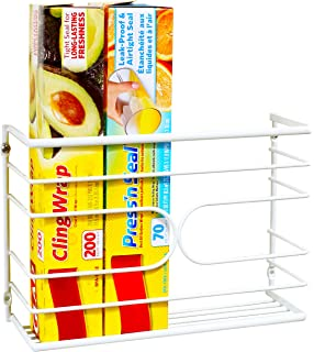 DecoBros Wall Door Mount Kitchen Wrap Organizer Rack, White