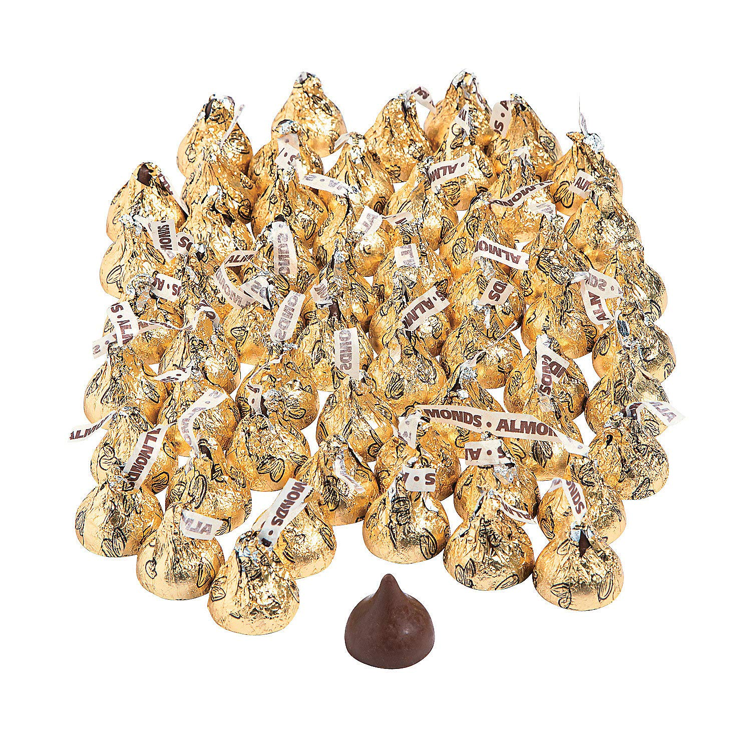 Gold Almond Hershey Kisses (4lb Bulk Pack) 400 Pieces by Fun Express