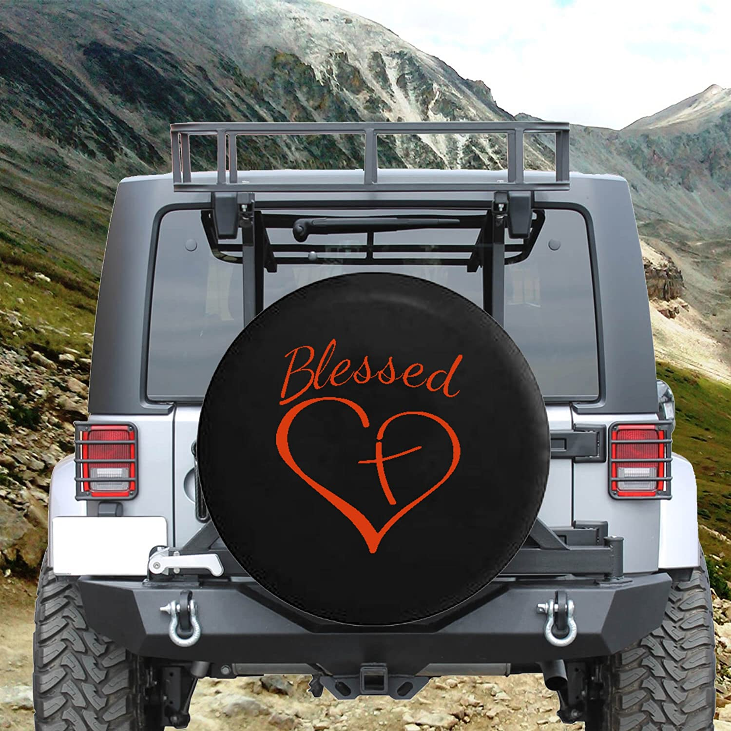 Blessed Heart with Cross Spare Tire Cover fits SUV Camper RV Accessories Orange Ink 33 in