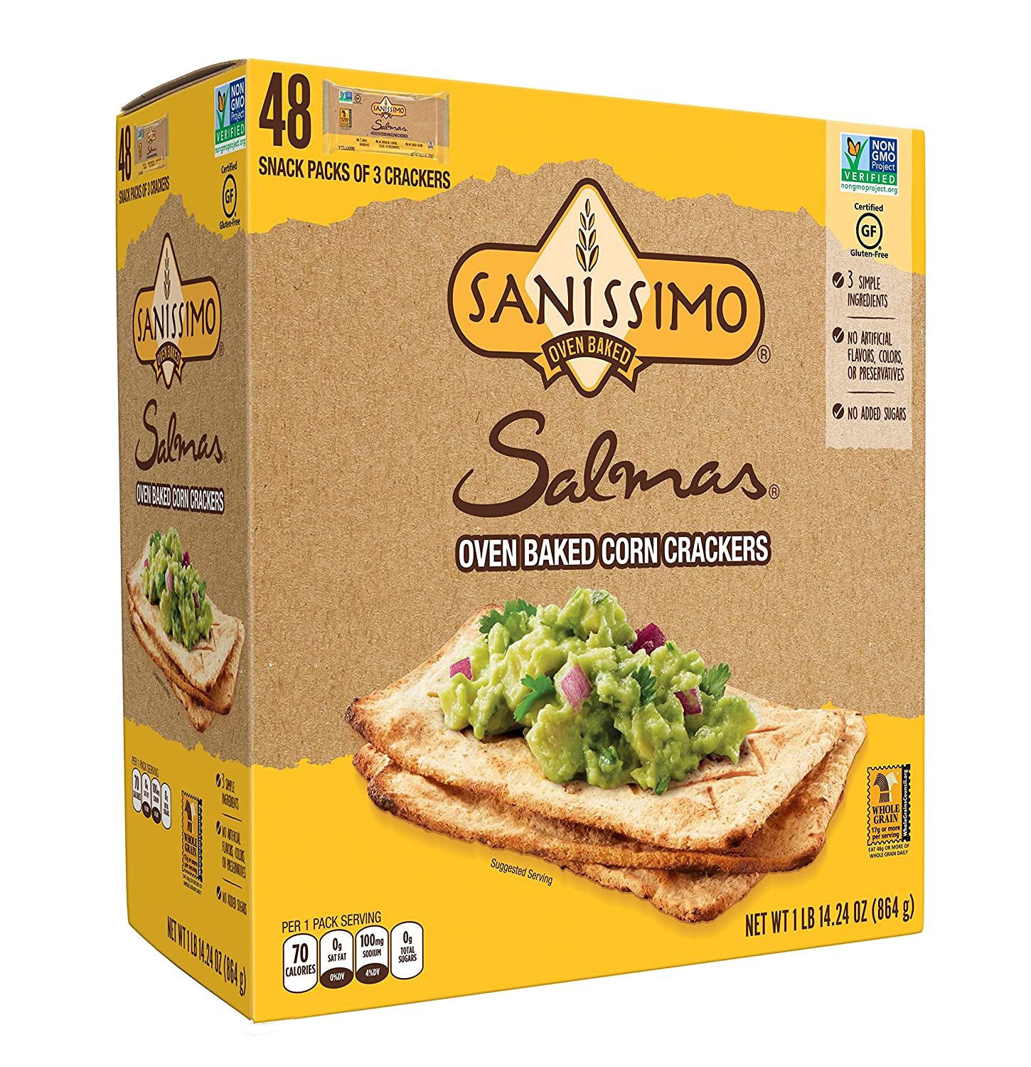 Salmas Oven Baked Corn Crackers, 100% Whole Grain Corn, Gluten Free, Non-GMO, 48 Individually Wrapped Snack Packs