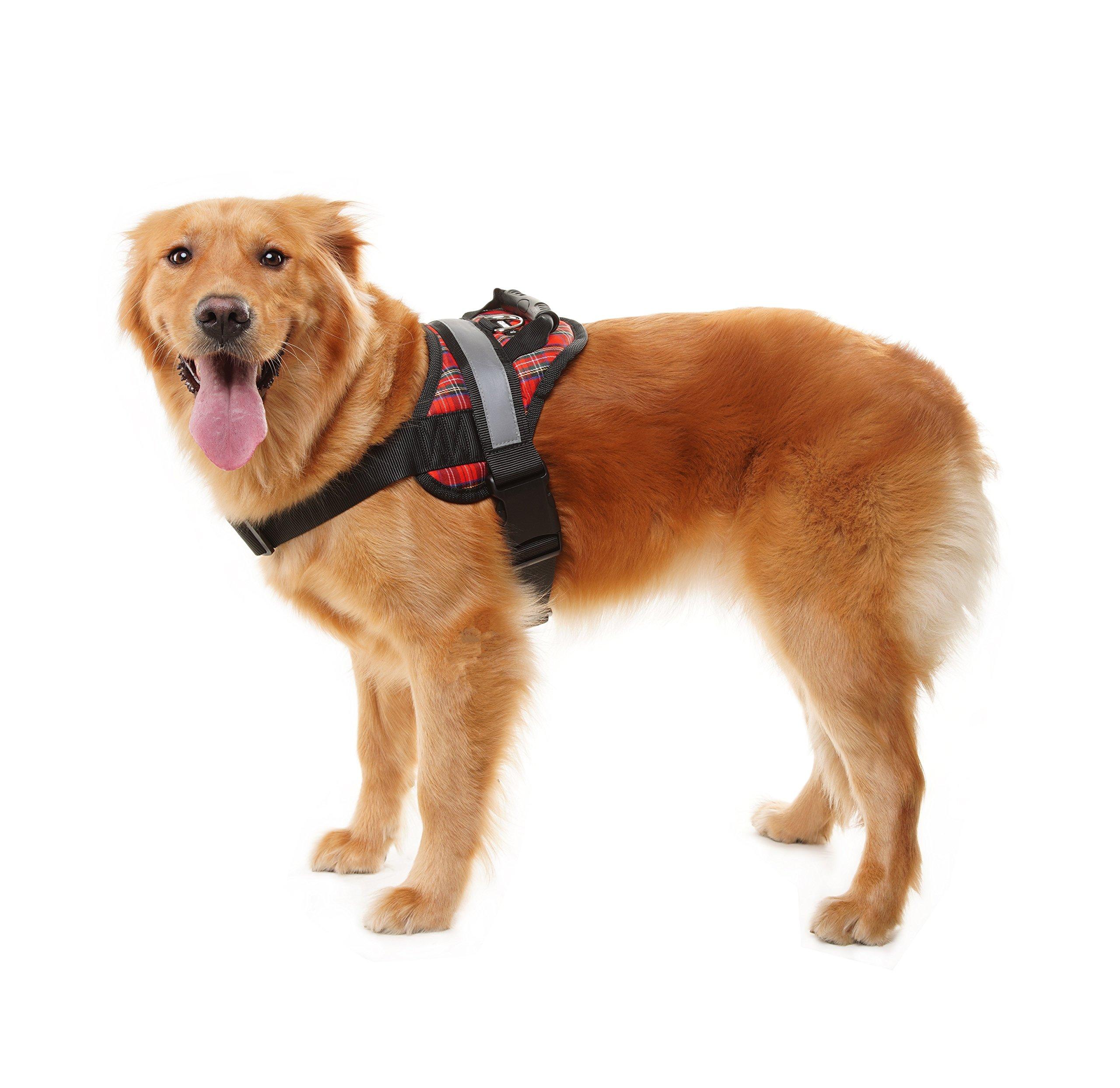 EXPAWLORER Big Dog Soft Reflective No Pull Plaid Harness Size M 20-26inch by EXPAWLORER (Image #1)