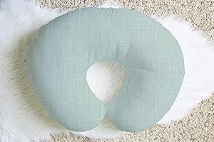 Linen Nursing Pillow Cover in Lake