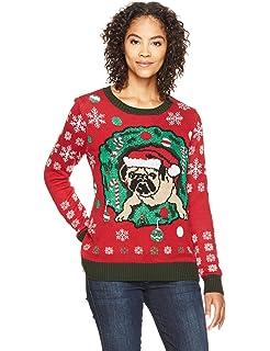 957627bcedf Amazon.com  Ugly Christmas Sweater Juniors Wiener Wonderland ...