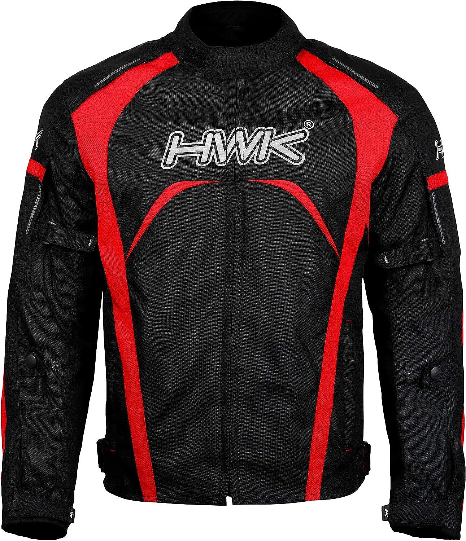 Motorcycle Jacket Mens Riding HWK Textile Racing Motorbike Hi-Vis Biker CE Armored Waterproof Jackets All-Black, L