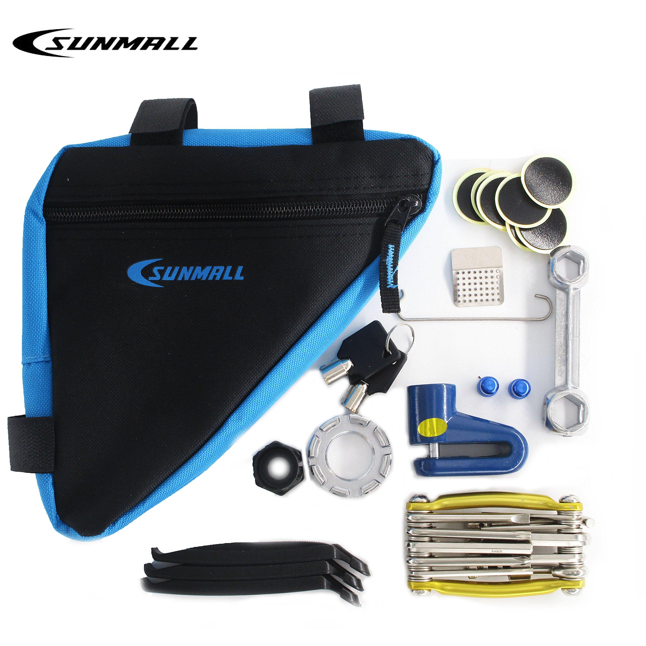 SUNMALL Upgrade Bicycle Maintenance Kit with waterproof bike bag,Bicycle Puncture Repair Kit,chain link repair kit