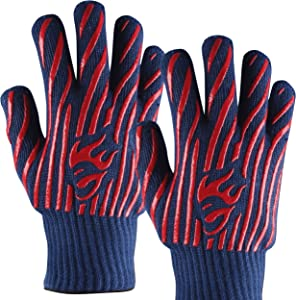 EvridWear 932°F Extreme Heat and Cut Resistant BBQ Gloves Oven Mitts, Non-slip Silicone Coated Pot Holders for Cooking, Baking, Grilling, Fireplace and Microwave (One Size, Blue)