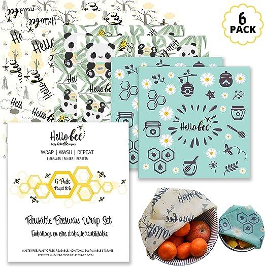 Envoltura De Alimentos De Cera De Abejas | Paquete De 6 Con 3 ...