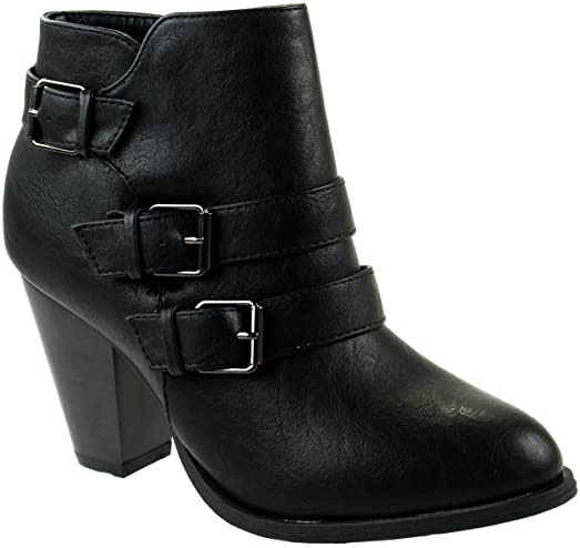 Forever Shoes Women's Camila-64 Leather PU Ankle Booties Strappy Upper With High Chunky Block Heel