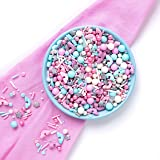 Sweets Indeed Sprinklefetti Candy Clouds Sprinkle Mix - Pastel Pink Blue - Sprinkles for Baking - Gluten Free - 8 ounces