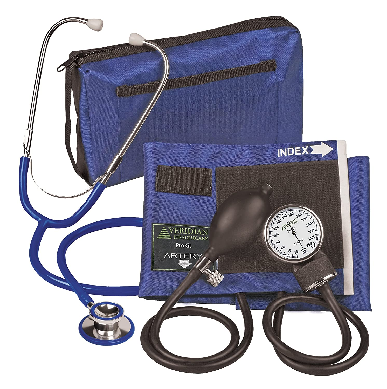Amazon.com: Veridian 02-12703 Aneroid Sphygmomanometer with Dual-head Stethoscope Kit, Adult, Royal Blue: Health & Personal Care