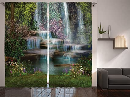 Ambesonne Waterfall Decor Collection, Waterfalls Flowers And Trees Magical  Painting, Window Treatments, Living