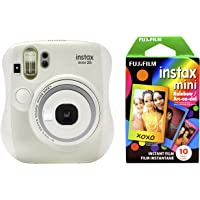 Fujifilm Instax Mini 26 Digital Camera + Rainbow Film Bundle (White)