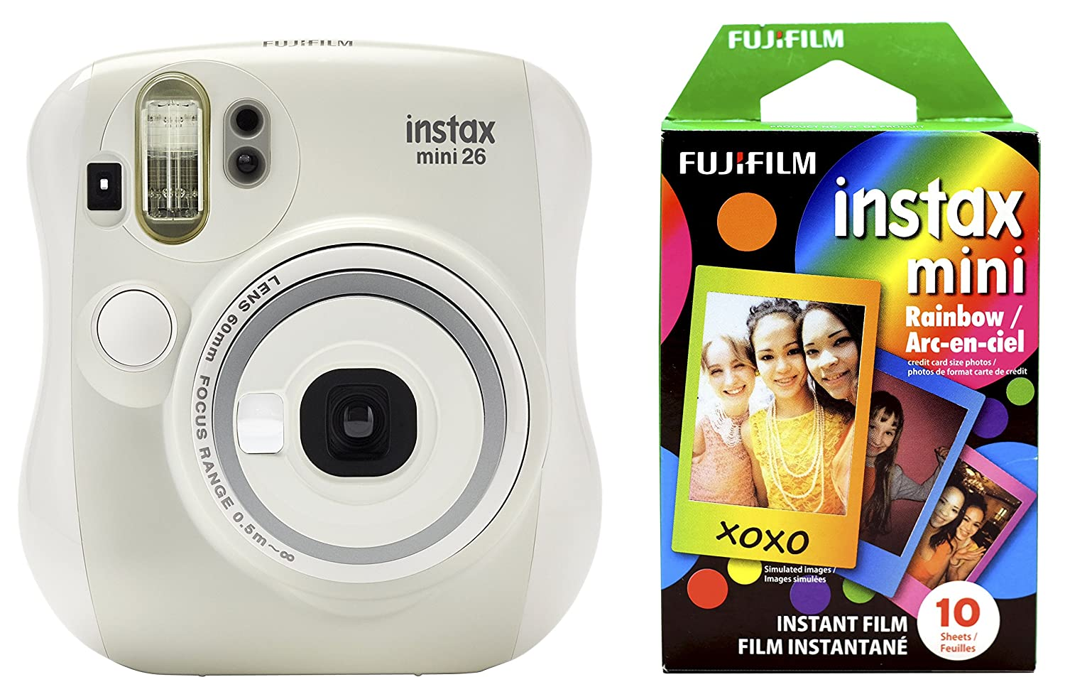 Amazon.com : Fujifilm Instax Mini 26 + Rainbow Film Bundle - White ...