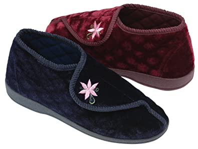 8e808d54f72 Dunlop Womens Ladies Slippers Diabetic Orthopaedic Comfort Boots Shoes Wide  Fit Velcro Machine Washable House Slippers Warm Lining Good Firm Rubber  Grip