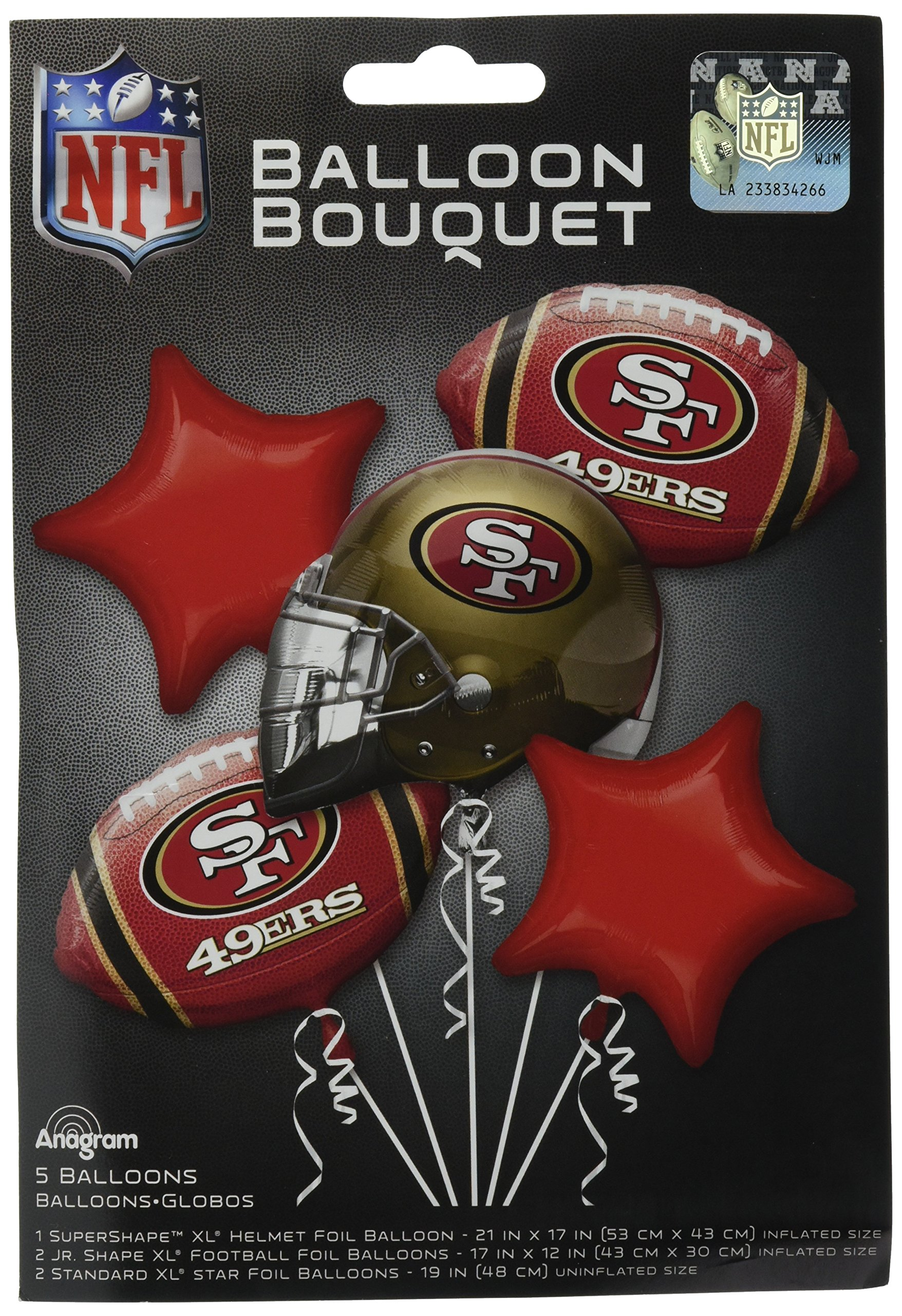 Anagram Bouquet 49ers Foil Balloons, Multicolor
