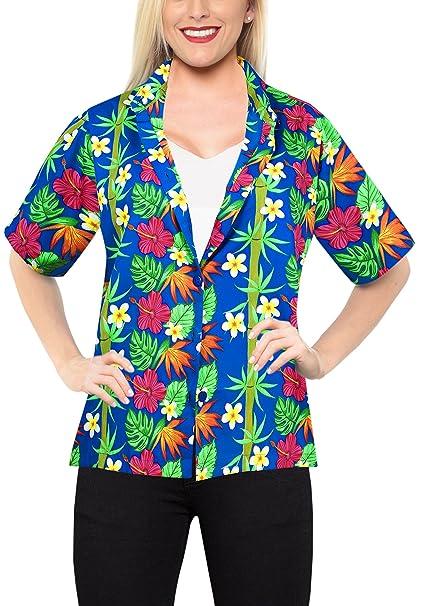 Hawaiano botón de la Camisa Blusas por Las Mujeres del Vestido de Cuello Mangas Cortas Campo Azul: Amazon.es: Ropa y accesorios