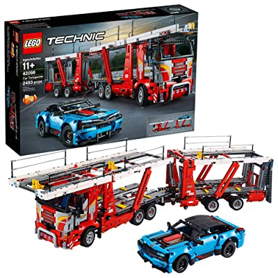 LEGO Technic Car Transporter 42098 Toy Truck and Trailer Building Set with Blue Car, Best Engineering and STEM Toy for Boys and Girls (2493 Pieces): Toys & Games