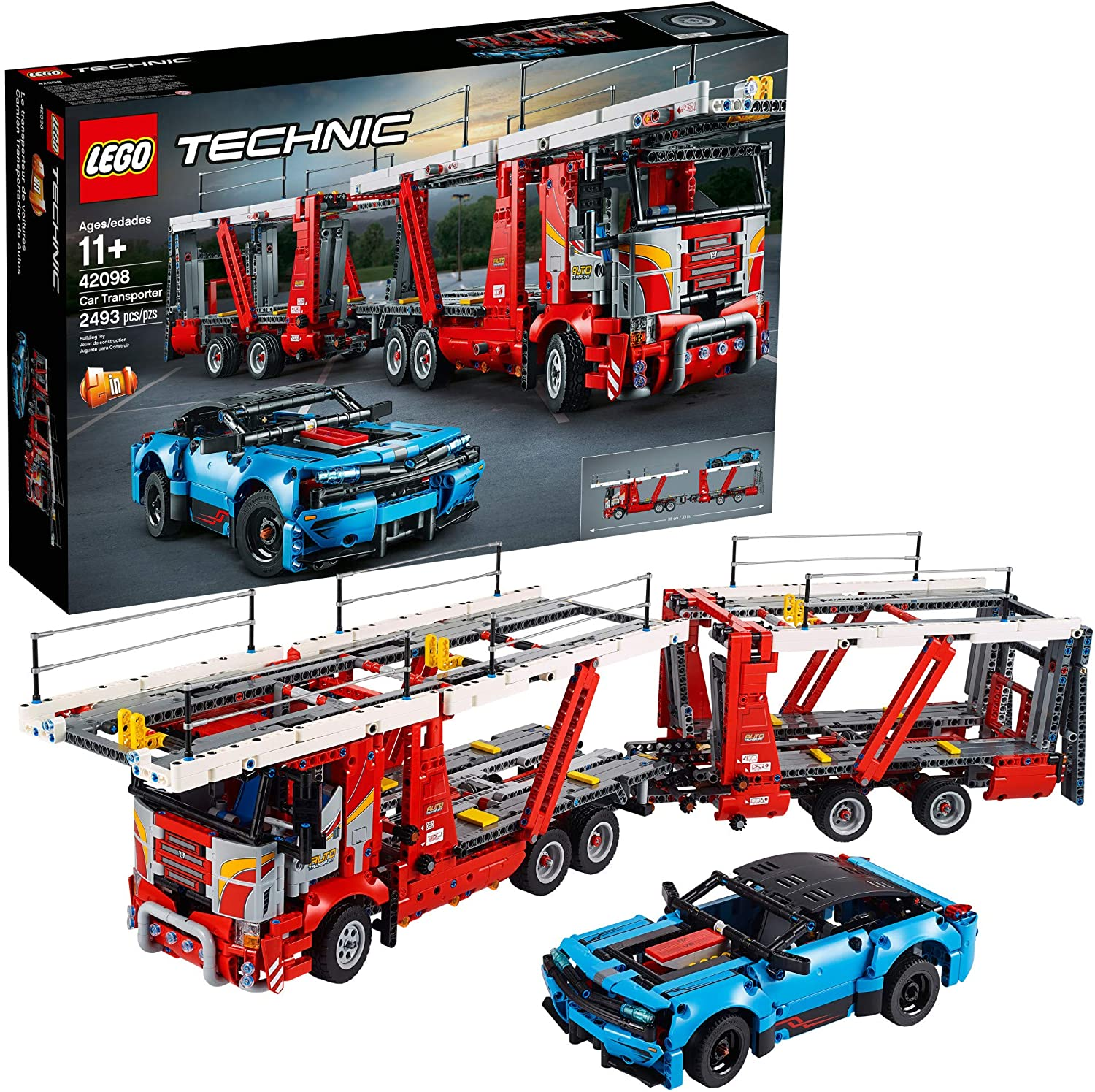 Amazon Com Lego Technic Car Transporter 42098 Toy Truck And Trailer Building Set With Blue Car Best Engineering And Stem Toy For Boys And Girls 2493 Pieces Toys Games