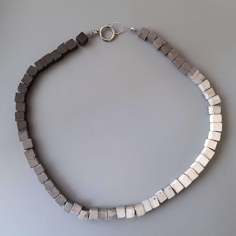 Einzelst\u00fcck Concrete handmade necklace/_ concrete handmade necklace jewelry Jewelry leather Handgemalt/_ leather handpainted