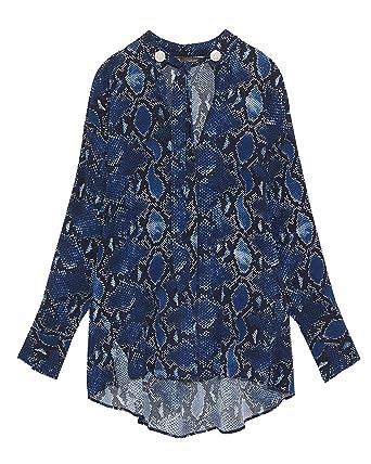 90d2c2d52f63 Zara Women's Oversized Snakeskin Print Blouse 2110/399 Beige: Amazon ...